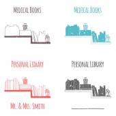 """Ex-Libris in the form of shelves with books. Category """"Medical Book"""". — Stock Vector"""