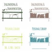 """Ex-Libris in the form of shelves with books. Category 'Engineering & Transportation"""". — Stock Vector"""