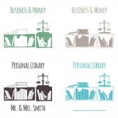 """Ex-Libris in the form of shelves with books. The category of """"Business & Money"""". — Stock Vector"""
