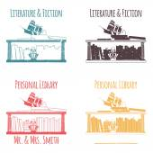 """Ex-Libris in the form of shelves with books. The category of """"Literature & Fiction"""". — Stock Vector"""