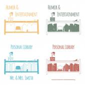 """Ex-Libris in the form of shelves with books. The category of """"Humor & Entertainment"""". — Stock Vector"""