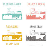 "Ex-Libris in the form of shelves with books. The category of ""Education & Teaching"". — Stockvektor"