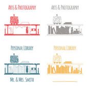"""Ex-Libris in the form of shelves with books. The category of """"Arts & Photography"""". — Stock Vector"""