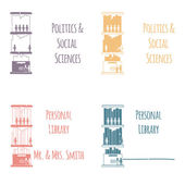 """Ex-Libris in the form of shelves with books. The category of """"Politics & Social Sciences"""". — Stock Vector"""