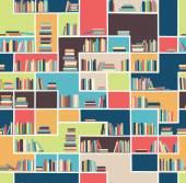 Seamless pattern with books on bookshelves. — Stock Vector
