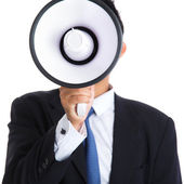 Male holding megaphone — Stock Photo