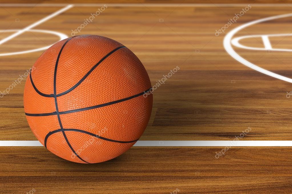 Sfera di pallacanestro sopra il campo di basket in legno - Immagini stampabili di pallacanestro ...