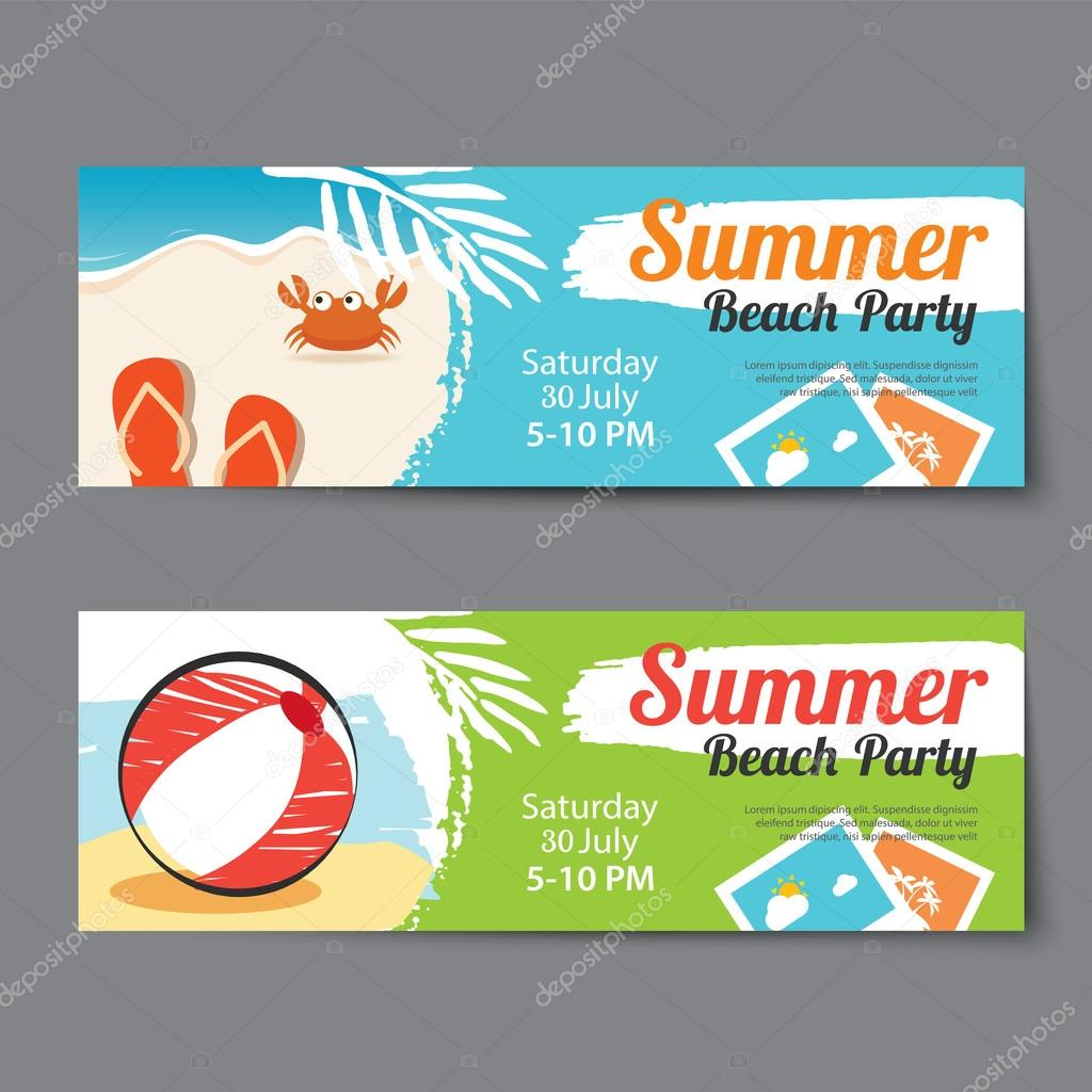 Summer pool party ticket template Vector kaisorn4 117965364 – Party Ticket Template