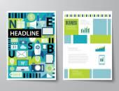 Headline startup set of magazine cover , flyer, brochure flat de — Stock Vector