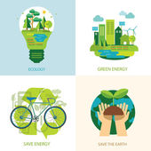 Save the world and clean energy concept — Stock Vector