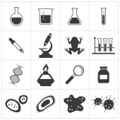 Chemistry and biology icon set — Stock Vector