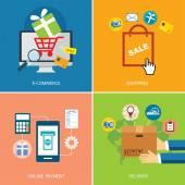 Conjunto de e-commerce e design plano de conceito comercial — Vetor de Stock