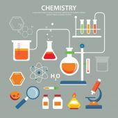 Chemistry background education concept flat design — Stock Vector