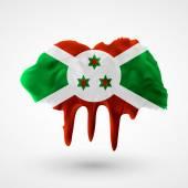 Flag of Burundi painted colors — Stock Vector