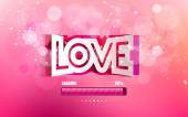 Vector convex paper inscription love cut on a pink background — Stock Vector