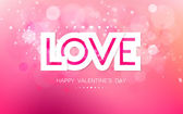 Vector paper inscription love on a pink background — Stock Vector