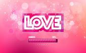 Amor de inscrição vetor cortado em um fundo rosa — Vetor de Stock