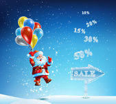 Santa Claus with a bag of gifts in hurry to sell — Stock Vector