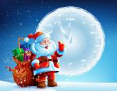 Santa Claus is standing in the snow with a bag of gifts on background sky — Stockvektor
