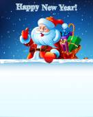 Santa Claus standing in the snow with a bag of gifts — Stockvektor