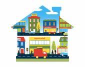 The city as a home — Stock Vector