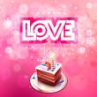 Vector inscription love cut on a pink background with cake — Stock Vector #62444199