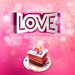 Vector paper curved inscription love cut on a pink background with cake — Stock Vector #62451121