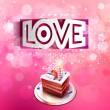 Vector paper curved inscription love cut on a pink background with cake — Stock Vector #62453229