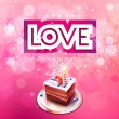 Vector inscription love cut on a pink background with cake — Stock Vector #62457419