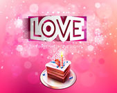 Vector paper curved inscription love cut on a pink background with cake — Vector de stock