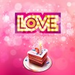 Vector gold inscription love with glowing lamps and cake — Stock Vector #62461811