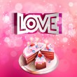 Vector paper curved inscription love cut on a pink background with cake — Stock Vector #62633029