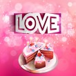 Vector paper curved inscription love cut on a pink background with cake — Stock Vector #62650021