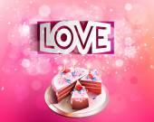 Papieru wektor zakrzywione napis miłość nacięcie na różowym tle z ciastem — Wektor stockowy