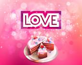 Vector inscription love cut on a pink background with big cake — Stock Vector