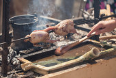 Partridge roasted on fire — Stock Photo