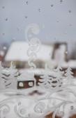 Winter pattern on a window — Foto Stock