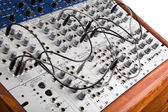 Close up of a big modular synthesizer — Stock Photo
