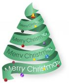 Looped ribbon Christmas tree with decorations — Stock Photo