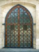 Latticed ornamental gothic window — Stock Photo