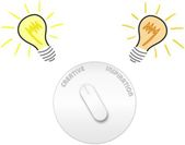 Creativity and inspiration switch with light bulbs — Stock Photo