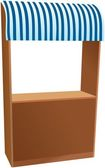 Wooden kiosk with blue striped sunshade — Stock Photo
