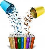 Цветные алфавитов, вылил из ведра линии книг — Стоковое фото