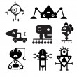 Vector robot silhouettes - Illustration — Stock Vector #54682009