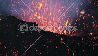 Volcanic explosion at dawn — Stock Video