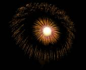 Golden orange amazing fireworks isolated in dark background close up with the place for text, Malta fireworks festival, 4 of July, Independence day, New Year, explode — Stock Photo