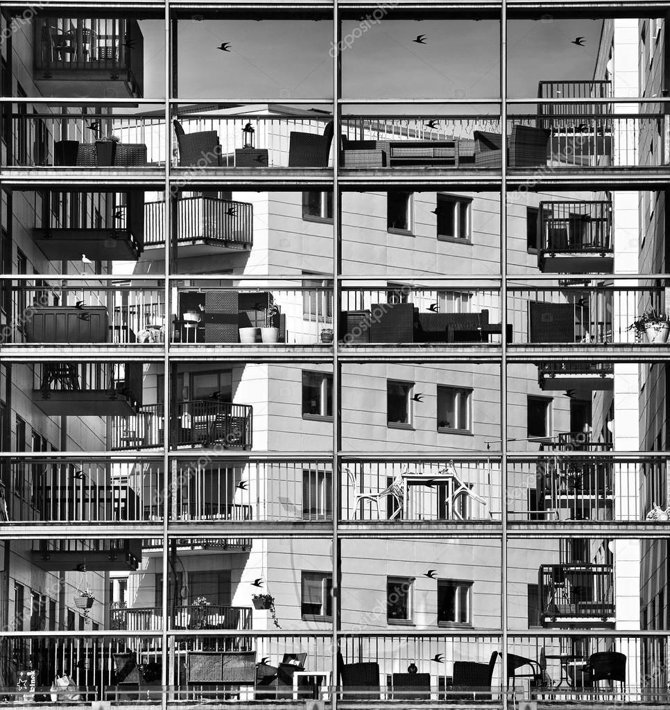 Abstract architectuur exterieur foto in zwart wit, hedendaagse ...