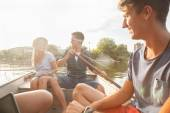 Friends Enjoying On A Boat — Foto Stock
