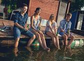 Friends Chilling Near Lake — Stock Photo