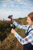 Farmer Wringing Grape Into Glass — Stock Photo